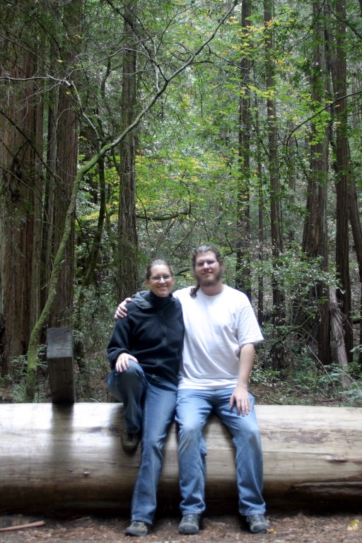 An image of Rickie and Seth in the Muir Woods redwood forest